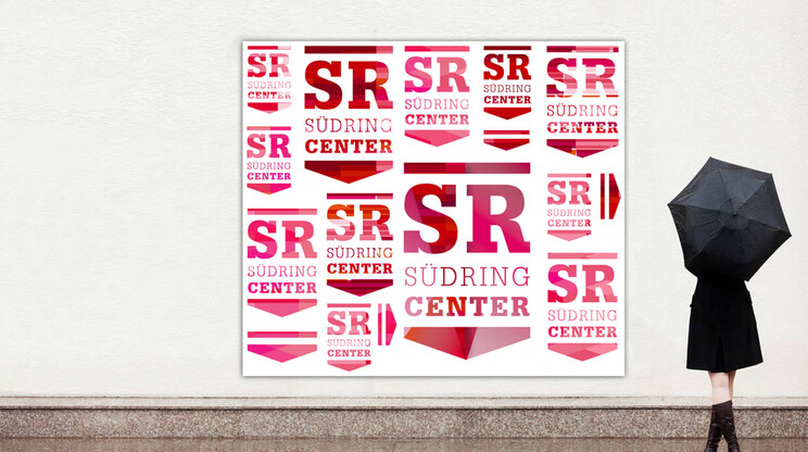 logo development - corporate design - guiding system - diverse implementations - corporate design - Südring Center - billboard example - advertising board with design posting