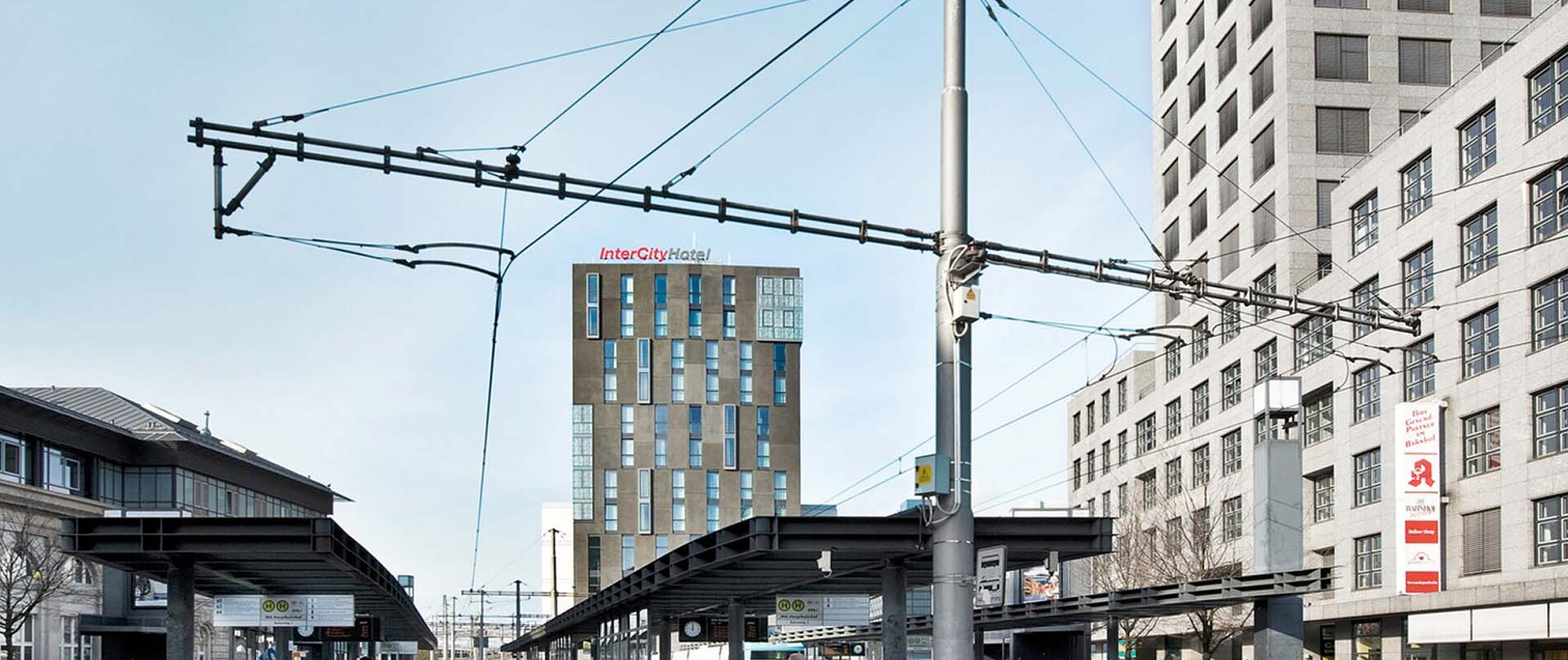 Office space and hotel - twelve-storey building - Euro City Center West Mannheim - view from the train station