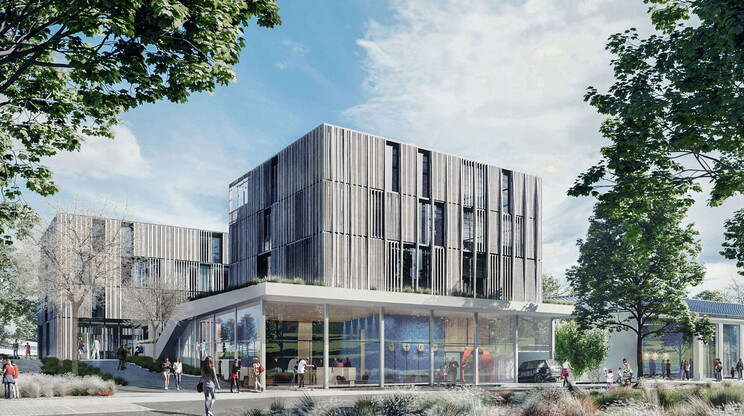 Construction of the health care centre Health Care Center Berg Rendering entry situation