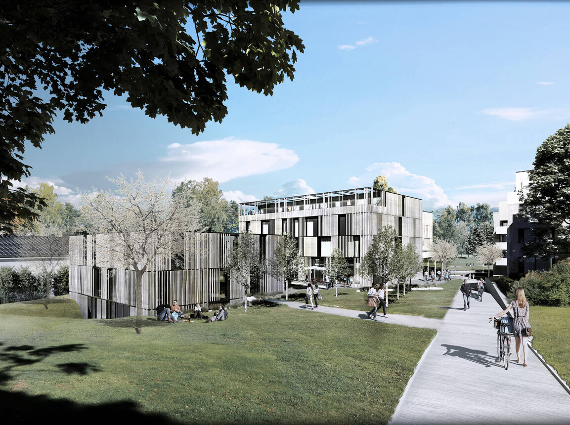 Construction of the health care centre Health Care Center Berg Rendering east south