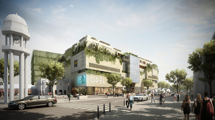 Mall - mixed-used with apartments, multiplex cinema and restaurants - Odel Mall Colombo - rendering from the main road and public space