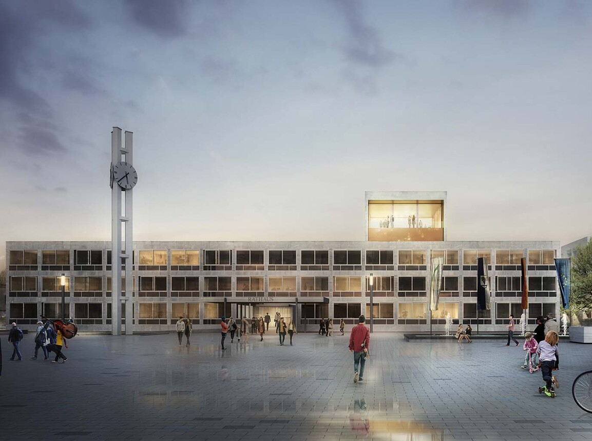 City Hall - new construction - City Hall Weil am Rhein - rendering with public space by night