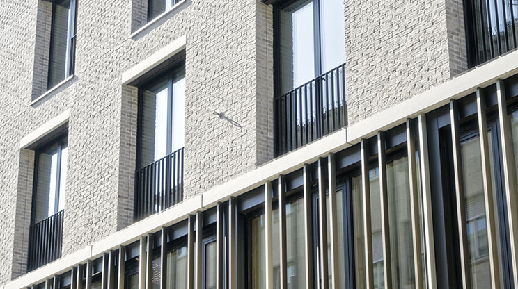 mixed-used living and business building - new construction - Sophie 23 Stuttgart - facade detail