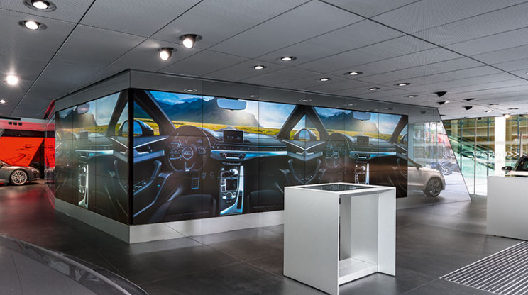 concept development - realization of a car showroom - Audi City Paris - power wall overview - car design paint table