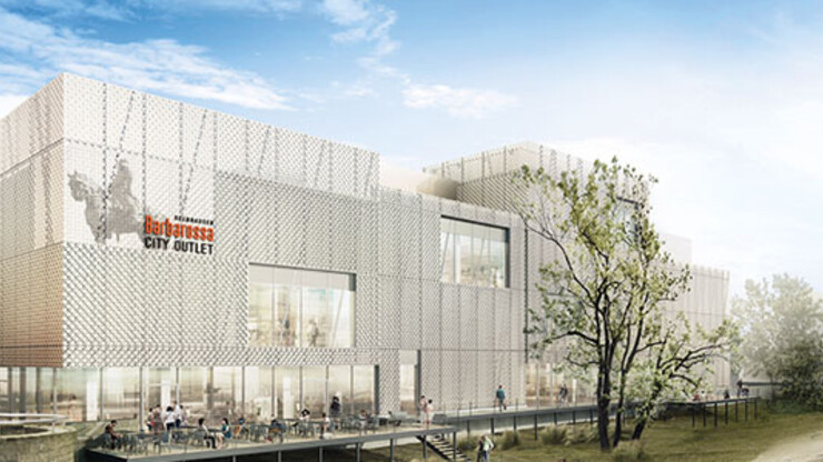 department store to inner-city outlet - conversion - Barbarossa City Outlet Gelnhausen - building facade - outside view rendering