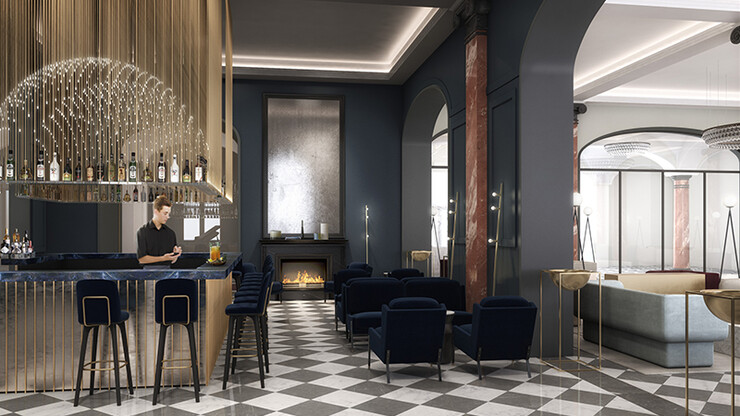 Hotel - Palace Hotel Lucerne - Interior Design Competition - bar and lounge rendering