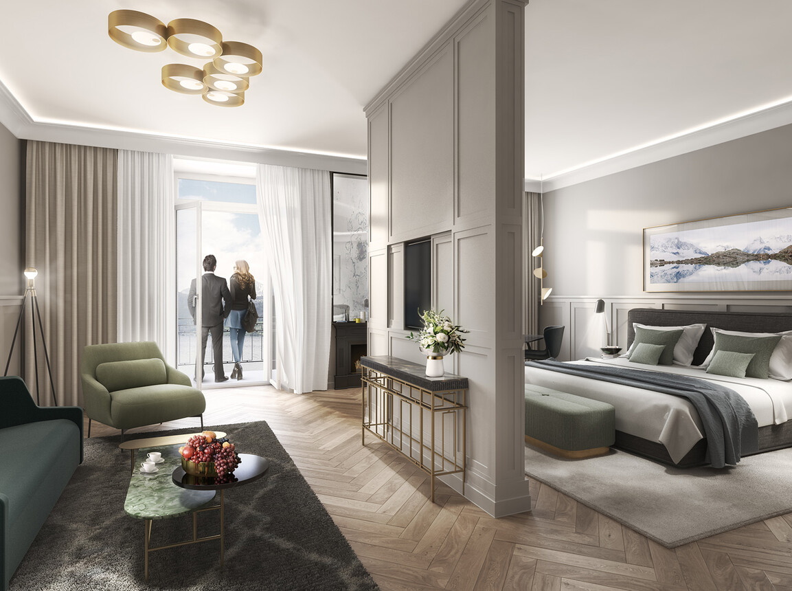 Hotel - Palace Hotel Lucerne - Interior Design Competition - hotelroom living space rendering