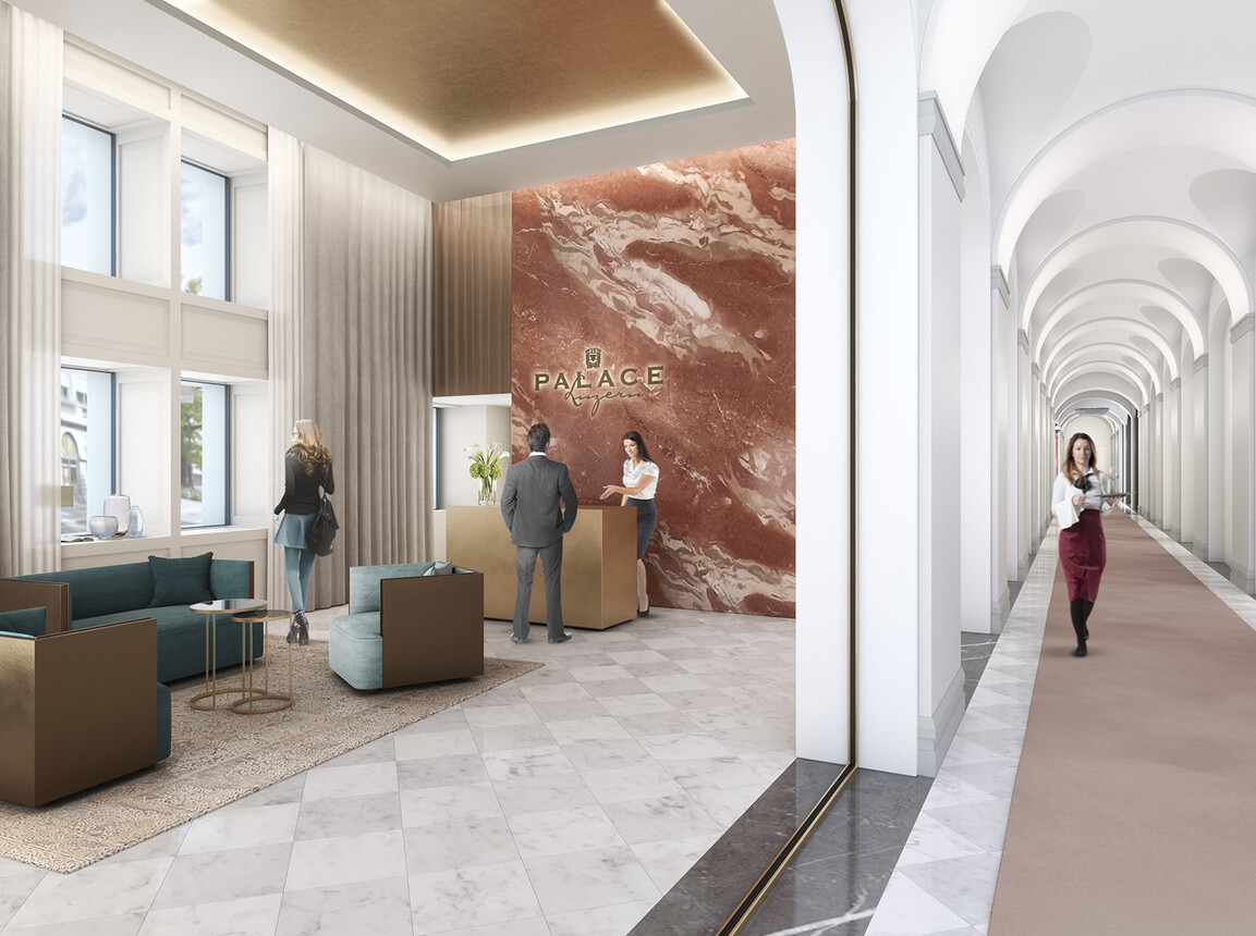 Hotel - Palace Hotel Lucerne - Interior Design Competition - reception and hall rendering