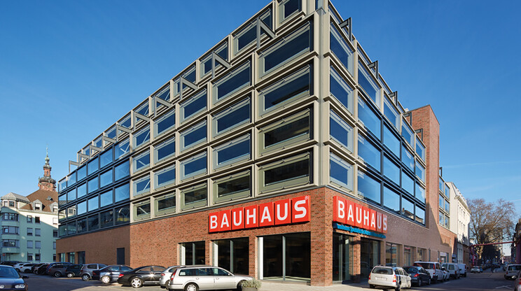office building - parking block - new construction - Commercial Building R5 Mannheim - facade - corner view - outside overview - wide angle