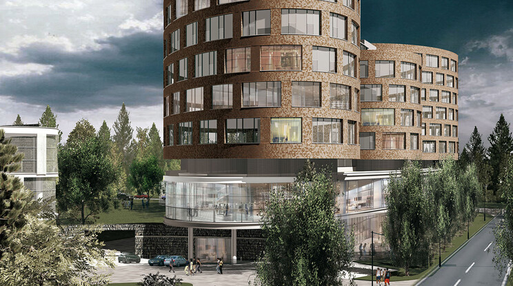 business center - shopping center - draft design - Hybridbuilding Jukovka - Moscow - russia - outside street side view rendering - view towards three rounded towers - stone cladded facade