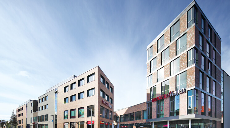 Design - permit approval planning - inner-city quarter - mercatura Aalen - areal overview - brick facades