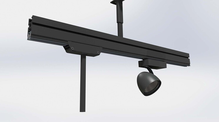ceiling rail system - Multi-Lane - vitra - for trade office and fair - rail system detail rendering