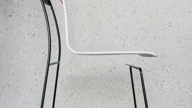 Skid-base chair - product design - product development - Spline - seating shell separated from steel tube